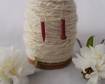 Red recycled vintage knitting needle earrings,  dangle earrings, quirky earrings handmade from vintage knitting needles
