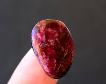 23 x 16 x 5 mm  Eudialyte  natural stone cabochon