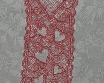 "Machine embroidered Lace Heart Bookmark, Pink 5 1/4"" x 1 5/8"""