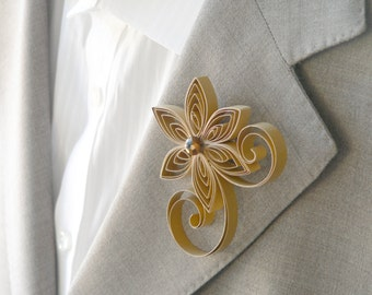 Gold Boutonniere for Prom, Groom Buttonhole Flowers, Gold Wedding Boutonniere Man, Mens Wedding Flowers, Wedding Groom Wear, Wedding Pins