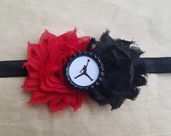 Jordan girls headband. Shabby Chic. Newborn infant toddler baby girls teen adult. Black & Red
