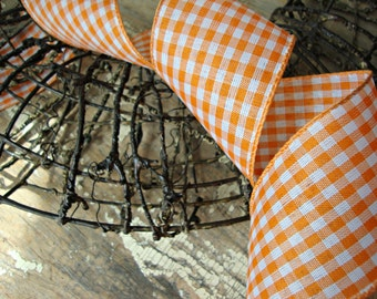 Orange and White Wired Gingham Check Ribbon