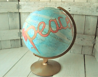 "Vintage globe world map embellished peace message Repogle 12"" diameter metal stand/ free shipping US"