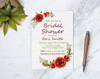 Garden Bridal Shower Invite, Bridal Shower Floral Invite, Poppy Bridal Shower Invitation, Botanical Shower Invite, Printable Bridal Invite