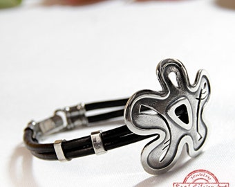 925 Silver leather bracelet/ Womens bracelet bangle/ Womens cuff bracelet silver/ Flowers jewelry/ Funny gift for mom/ Floral design/ Gift