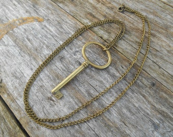 "Key to My Heart Necklace in Antique Bronze on 31"" (78 cm) Chain, Love, Sweetheart, Large Skeleton Key"