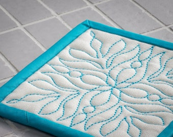 Fabric Drink Coaster. Quilted  Drink Coaster