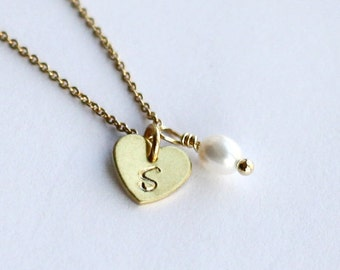 Tiny heart necklace, Personalized Initial Necklace, geniune pearl,hand stampping Necklace, custom gift for her, Bridesmaid necklace jewelry