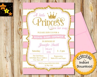 Princess Baby Shower Invitation Girl, Pink Gold Glitter Invite, Pink Stripes, Crown, Baby Shower Invite, Princess Invitation, Printable