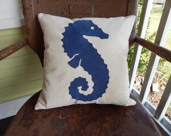 SEAHORSE Pillow Burlap Pillow  Nautical Theme Painted Burlap Throw Accent Pillow Custom Colors Available Home Decor