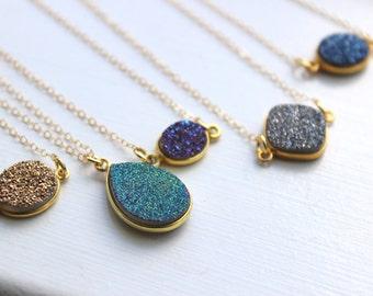 Gold Druzy Necklace, Drusy Necklace, Druzy Jewelry, Drusy Jewelry, Druzy Pendant, Gemstone Necklace, Stone Necklace, Blue Druzy Purple Druzy