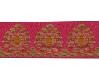 Magenta Jacquard Ribbon Trim, Metallic Woven Saree Border Trimmings, Craft Supplies Accessories, 0.7 Inch Wide Ribbon By The RT1623A