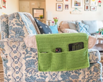 Sofa Organizer, Armchair Caddy, Remote Holder, Remote Organizer, Armchair Organizer, Armrest, Crocheted Remote Control Caddy, Entertainment