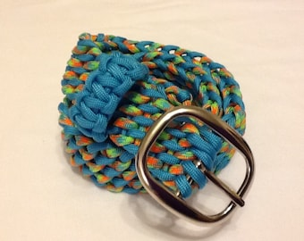 Aqua and neon (dragonfly) 27-inch paracord belt