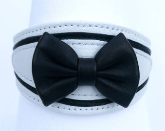 black and white leather dog collar