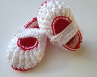 Crochet Baby Shoes, Crochet Baby Girl Booties, Crochet Baby Girl Shoes, Baby Girl Shoes, Red and White Baby Booties