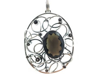 Handmade Silver Pendant with Smoky Quartz