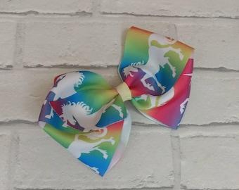 "Girls large 6"" inch rainbow unicorn boutique hair bow with alligator clip like JoJo siwa bows signature keeper dance moms"