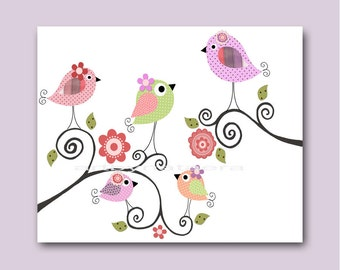 Bird Decor Baby Nursery Decor Art For Children Kid Wall Art Baby Girl Room Decor Baby Girl Nursery Print Bird Green Violet Rose Artwork