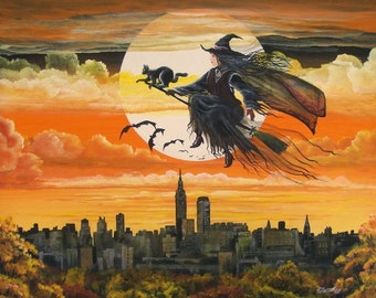 """Halloween Folk Art """"City Witch"""" Witch Flying Over New York City Full Moon  PRINT Byrum Art HAGUILD"""