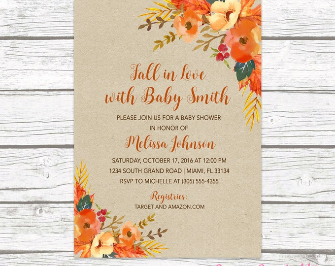 Fall in Love Baby Shower Invitation, Autumn Falling Floral Leaves Gender Neutral Rustic Invite, Boy Girl Printable Printed Invitation