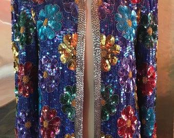 Leslie Fay blue beaded jacket, Formal beaded jacket,blue,turquoise,gold,pink,green,M,Medium