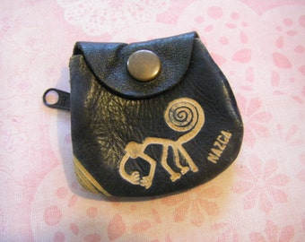 NAZCA monkey small LEATHER purse