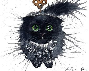 Clockwork (Exploding) Kitten Oolong: Fine Art Watercolour Black Cat Print