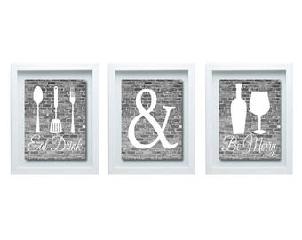 Black And White Kitchen Wall Art, Eat Drink And Be Merry Print, Kitchen Decor, Kitchen Wall Art, Modern Kitchen Decor, Modern Kitchen Art