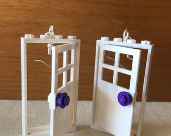 Whimsical LEGO toy earrings--symmetrical white doors.