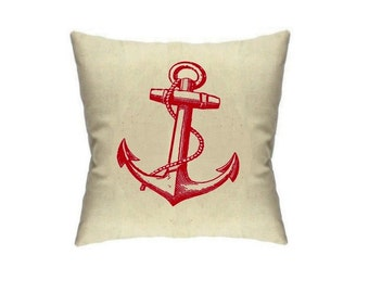 Anchor Pillow Nautical Home Decor Pillows Sailor Housewares Cushion Linen Throw Pillow Accent Cute anchors
