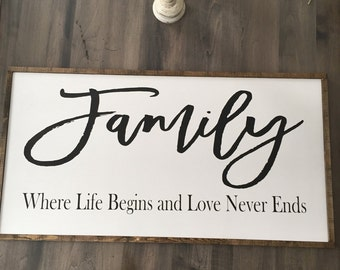 Large Family Where Life Begins wood Sign