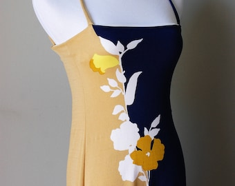 1970s Polyester Color Blocked Floral Print Strapless Maxi Dress
