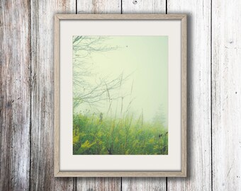 Nature Photograph - Fog Photo - Minimalist Decor - Ohio Field - Pastel - Blue Gray Green - Dreamy Photography - Nature Print - Cottage Decor