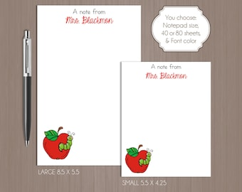 Teacher Notepad . Personalized Note Pad .  Apple Note Pad . Large Notepad . Small Notepad . Boutique . Custom Notepad . Apple . Teacher Gift
