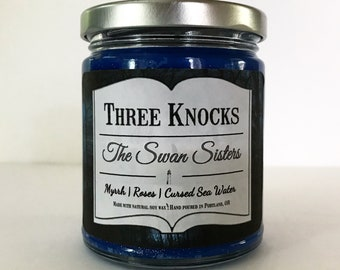 The Swan Sisters - Three Knocks Candles - Book Candle - Scented Soy Candle - 8 oz Jar