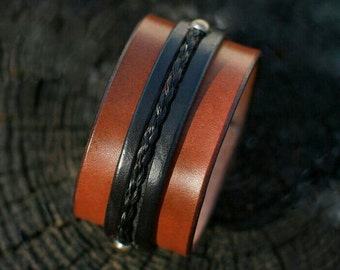 Horse Hair and Leather Cuff - Braided Horsehair Inlay Leather Bracelet