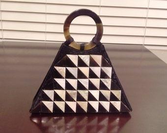 Geo Illusion Mother of Pearl Shell Handbag