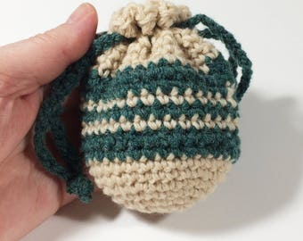 Wool Coin Purse, Mini Bag, Crochet Pouch, Green Coin Pouch Wristlet - Free Shipping Domestic