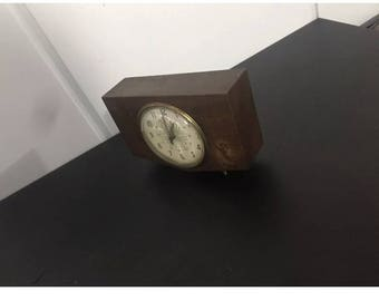 Vintage westclox penthouse mid century walnut mechanical alarm clock 1950s