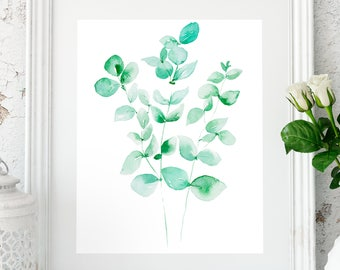 Eucalyptus leaves, tropical leaf prints, Eucalyptus, gift for her, Anniversary gift, Tropical leaf print, Green leaf wall art, Botanical art