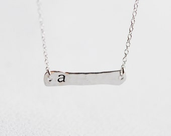 Initial Sterling Silver Bar Necklace - silver bar with personalized letter necklace, simple minimal everyday jewelry by petitor