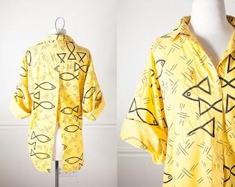 90s Grunge Button Down Shirt, High Low Hem, Split Back 80s Shirt, 80s Top, 90s Top, Graphic Print 90s Grunge Top, Fishtail Hem Yellow Blouse