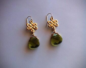 Gold Eternity Knot Earrings Woodland Green Crystal Celtic Wedding, Outlander Bridal Jewelry Eternity Love Knot Earrings
