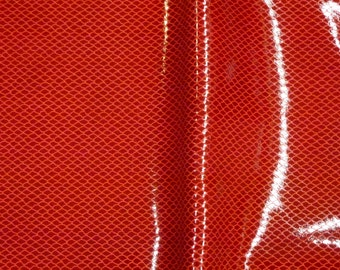 """Patent Leather 8""""x10"""" FISH NET Red Printed Cowhide 3-3.5 oz / 1.2-1.4 mm  PeggySueAlso™ E2988-14 limited"""
