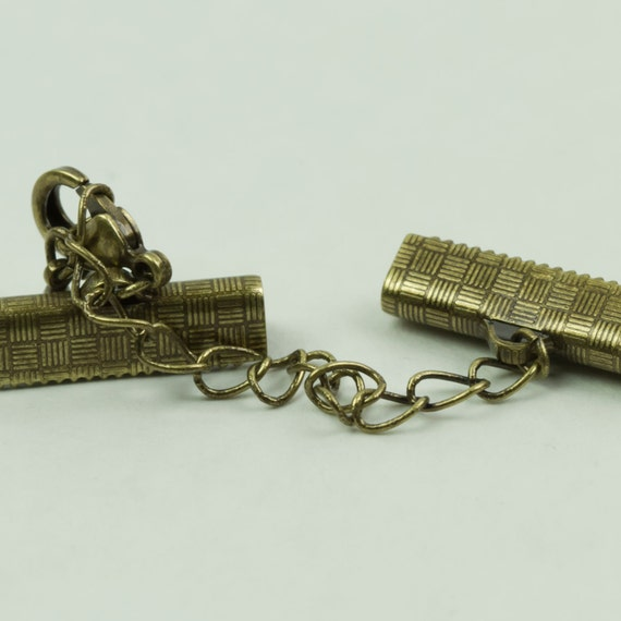 Clasps 20mm Ribbon Crimp Clasp with lobster claw and extension chain Brass in Color 1 set, 2 pieces Approx 3/4 inch
