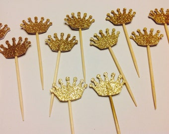 24 GOLD CROWNS Glitter Cupcake Toppers picks prince princess