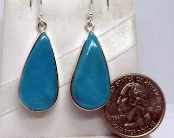 Large Blue Earrings, Teardrop Turquoise, Turquoise Earrings, Blue Turquoise, Natural Turquoise, Long Elegant Earrings, Sterling Silver 925