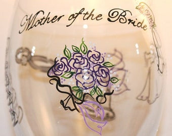 Mother of the Bride Wine Glass Wedding Engagement Toasting Glasses Personalized Purple Lilac Dated Custom Hand Painted Iced Tea Water Goblet