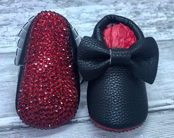 Black Red Sole Baby Moccasin Baby Pram Shoes - Diamanties, bling - Like Mummy's Louboutins but Designer Inspired! Louboutin Baby!